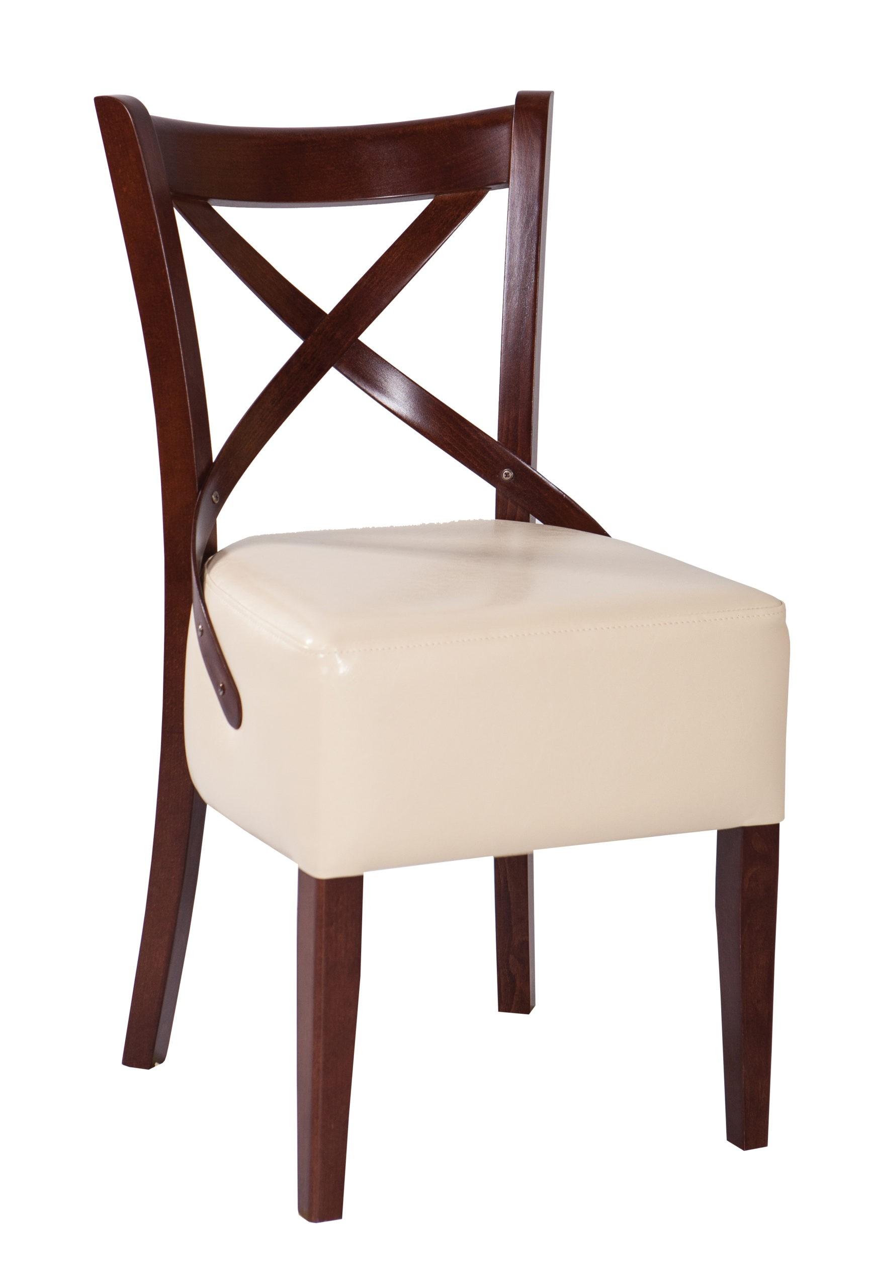 Greckie krzesło do jadalni lub kuchni oparcie krzyż z wygodnym tapicerowanym siedziskiem KT53