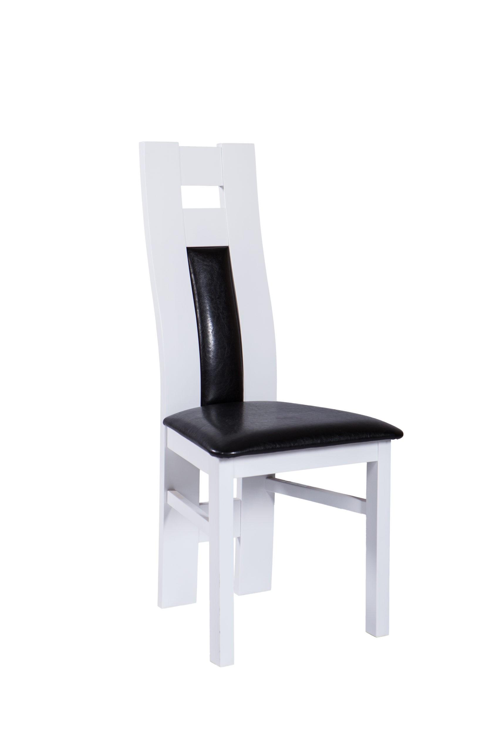 Krzesło MR 340 z długim oparciem drewnianym w białym kolorze