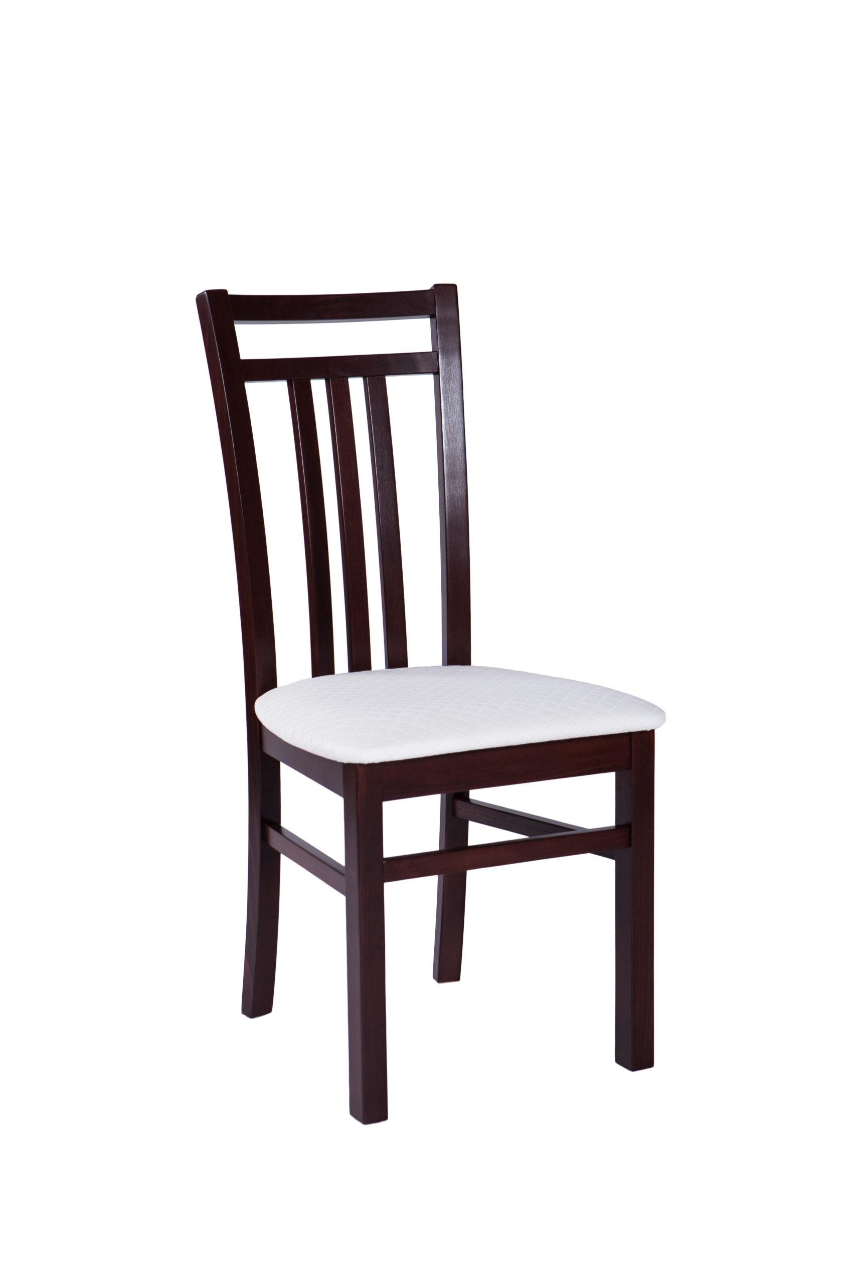 Krzesło do jadalni z drewnianym oparciem i siedziskiem tapicerowanym KT44
