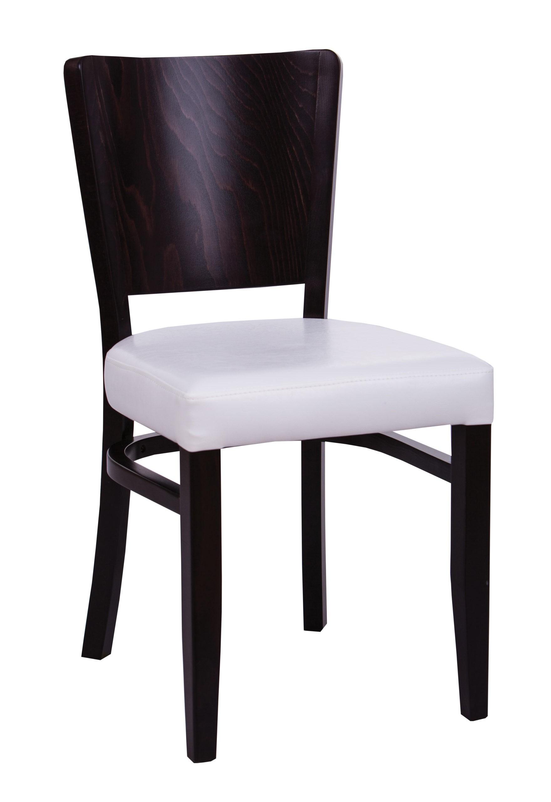 Krzesło do kuchni i jadalni z siedziskiem tapicerowanym i drewnianym profilowanym oparciem KT47