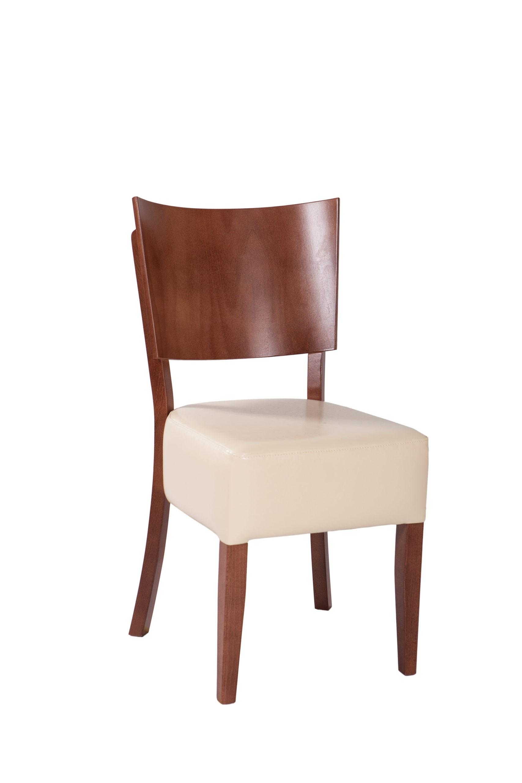 Krzesło do kuchni z wygodnym siedziskiem tapicerowanym i drewnianym profilowanym oparciem KT46