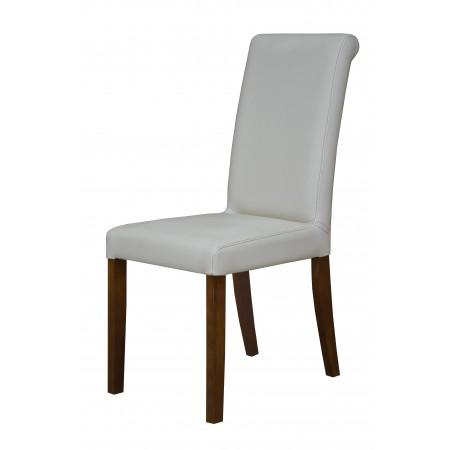 Krzesło tapicerowane do jadalni KT 1 w białej skórze ekologicznej
