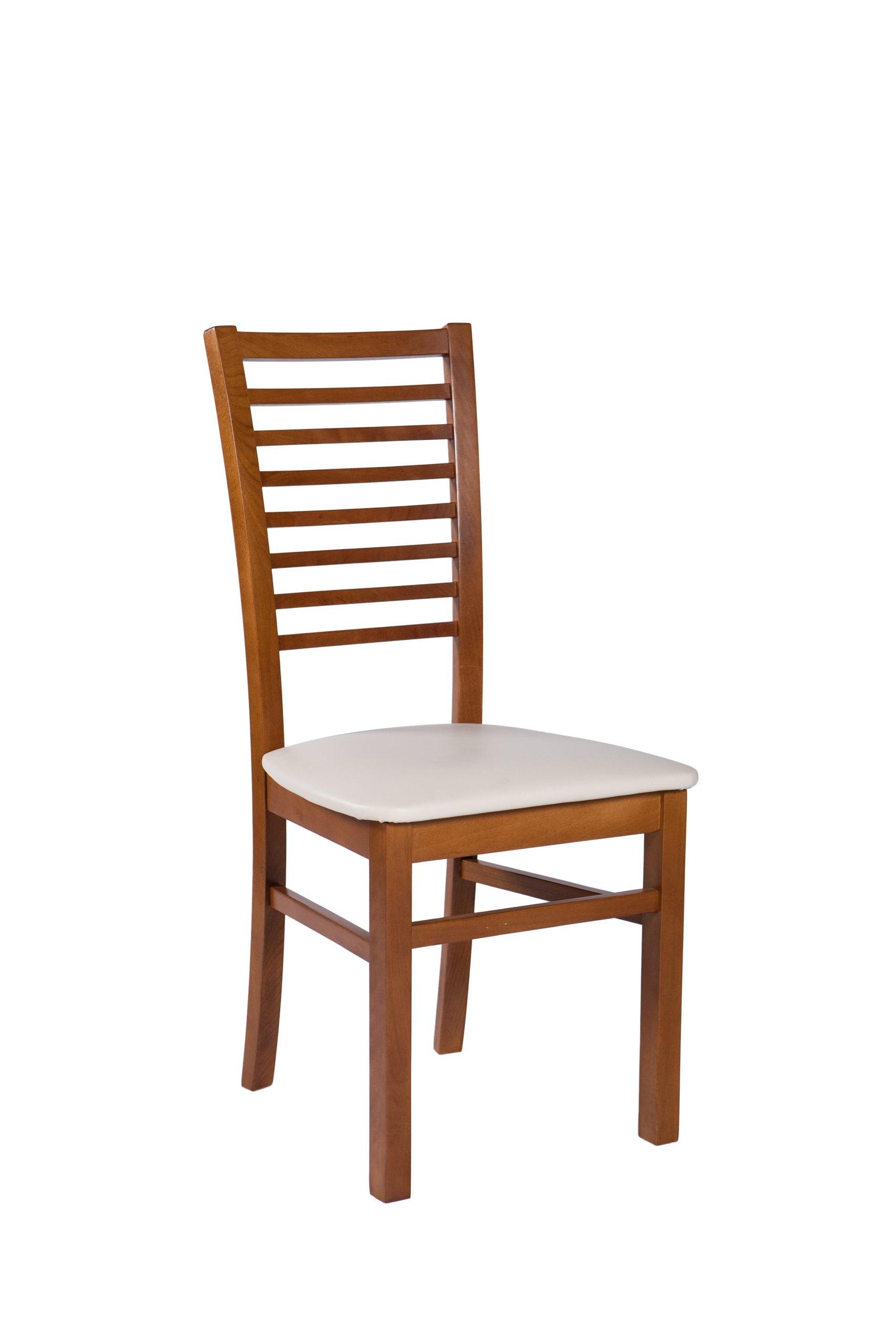 Krzesło z drewnianym oparciem i siedziskiem tapicerowanym KT 39