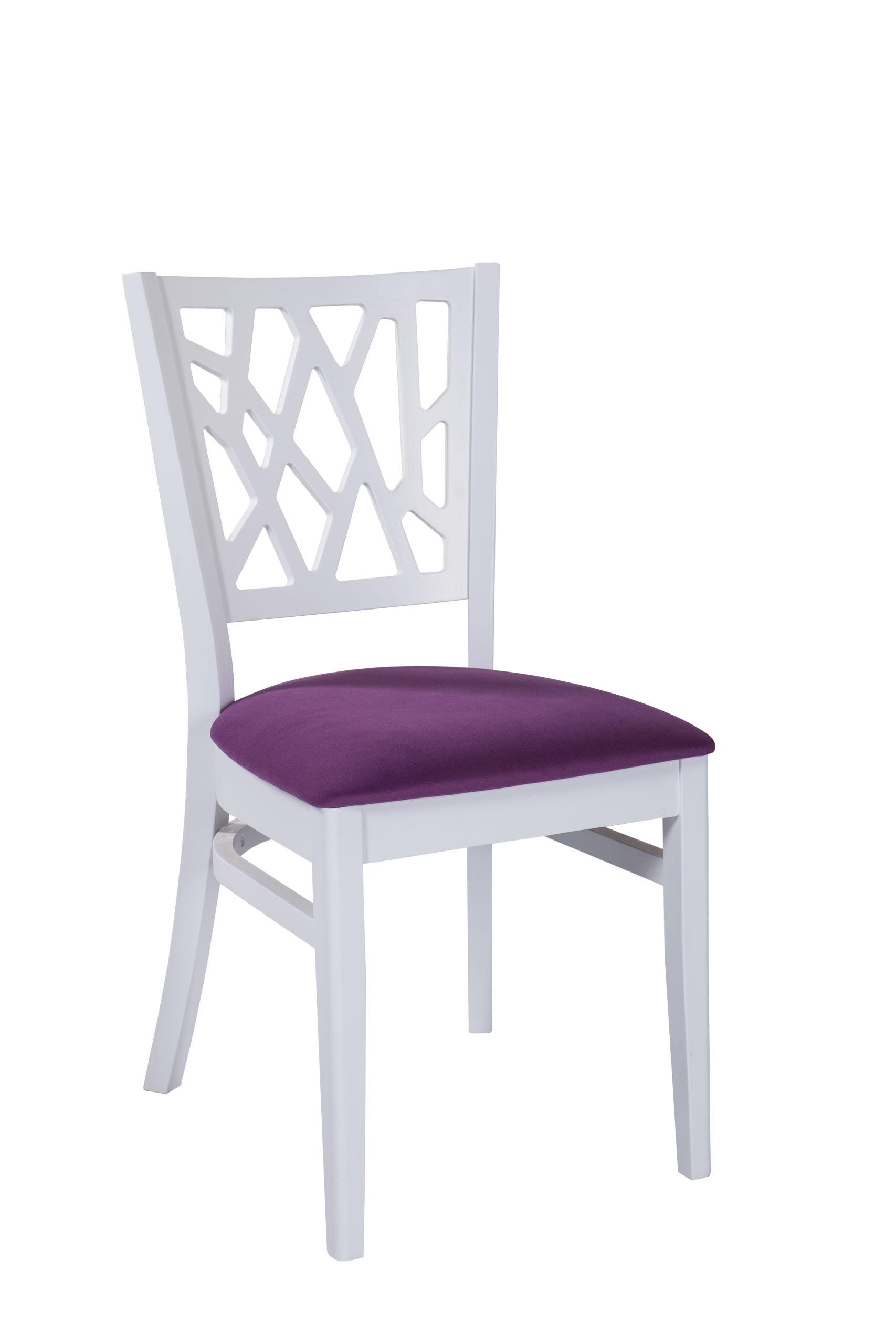 Nowoczesne krzesło z unikalnym wzorem na drewnianym oparciu siedzisko tapicerowane KT 40 1