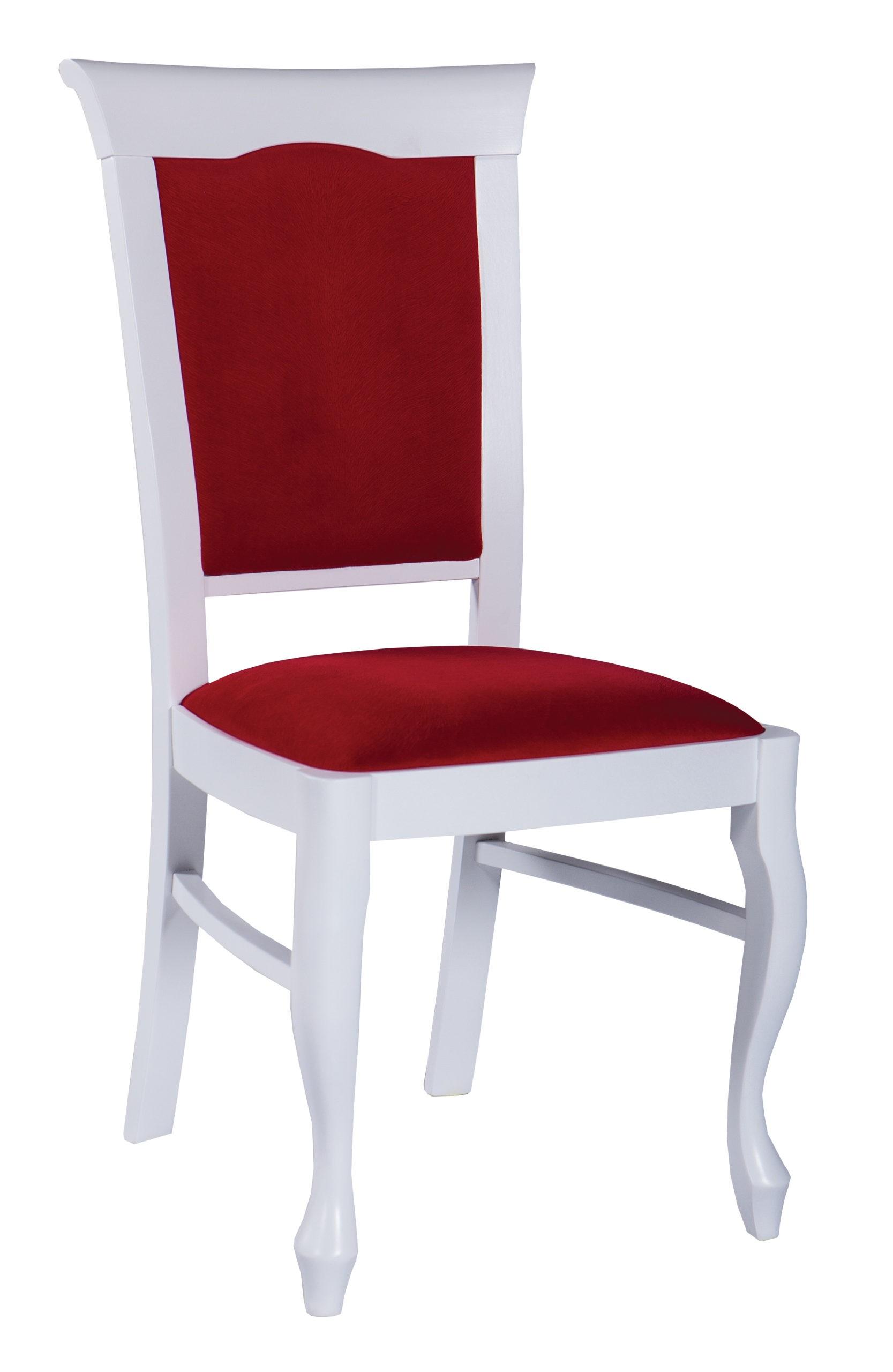 Stylowe krzesło MR 914 lite drewno, profilowane, noga ludwik w kolorze białym