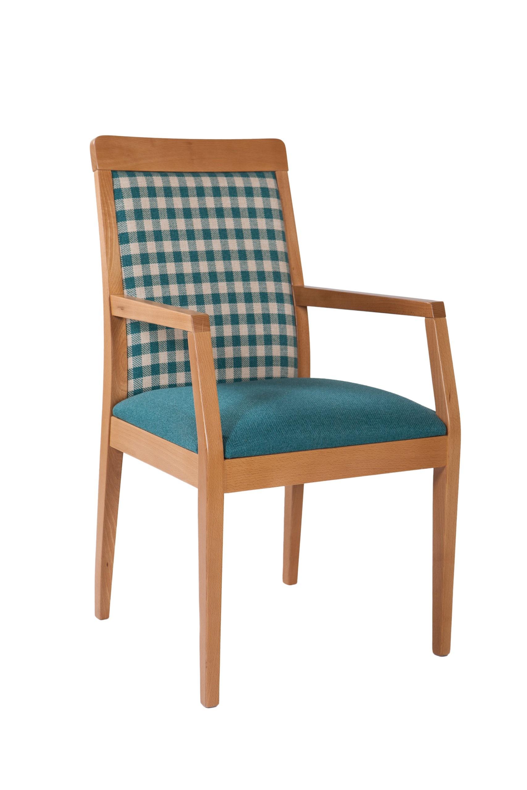Wygodne krzesło drewniane z tapicerowanym siedziskiem oraz oparciem z podłokietnikami KT 42