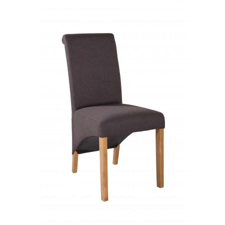 Wygodne krzesło tapicerowane KT 11 w szarej tkaninie