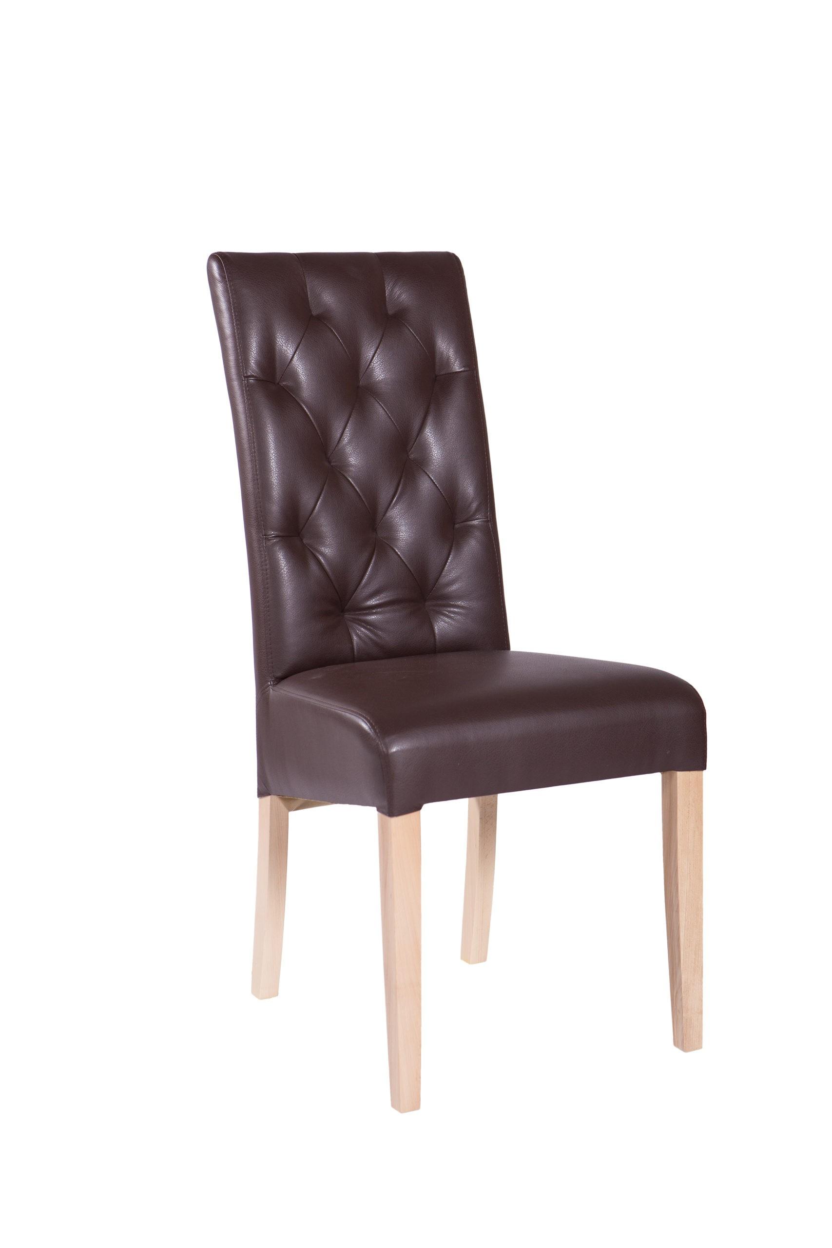 Krzesło taapicerowane KT 28 w brązowej skórze ekologicznej pikowane